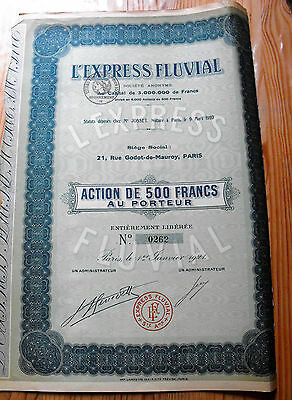 """Action France """" L'Express Fluvial  """"  1921"""