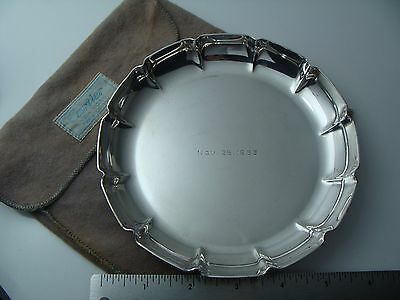 Vintage Cartier 925 Sterling Silver Flutted Nut Candy Dish Jewelry Tray W Pouch