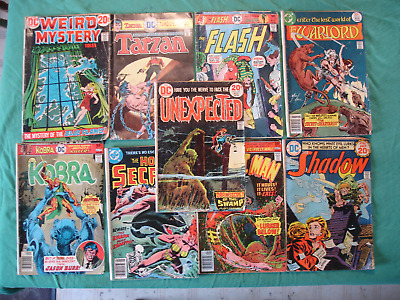 DC Lot of 9 Bronze age 1970s Comic Books Shadow, Flash, Weird, Unexpected, Etc.
