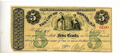 The City of Newark, NJ, 5 Cents Fractional Currency Dated Jan 1, 1863