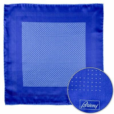 Men's BRIONI Royal Blue Weave Silk Hand Made Rolled Pocket Square Handkerchief