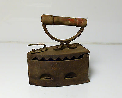 Rare Antique Primitive Old Clothes Iron Coal Hand Forged Wooden Handle