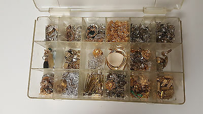 Jewelry crafts parts lot beading metal clasps mounts chains silver gold