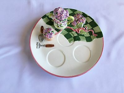 Partylite Tea Light  Candle Holder Plate Lilac Meadow P9281