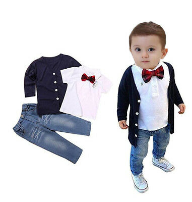 3pcs toddler Baby clothes boys  cardigan sweater+T shirt+jeans outfits