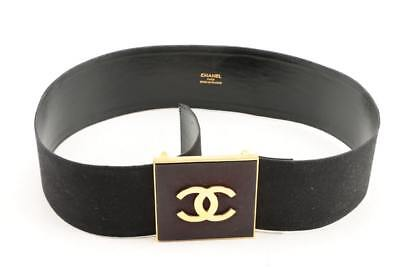 CHANEL BELT Vintage w/ Leather with Canvas Cover, Double C logo in Gold Tone