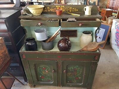 Antique Painted Dry Sink Pennsylvania Dutch Primitive Early 1800's