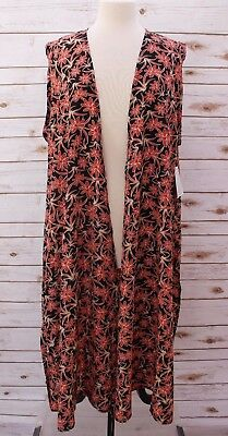 XL - Extra Large  LuLaRoe Joy Duster Vest Silky Floral Black Red Tan NWT
