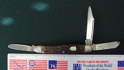 "Vintage Camillus Pocket Knife, #67, 3 Blade, folding Knife  3 7/8"" closed."