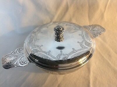 FRENCH STERLING SILVER ECUELLE/ COVERED BOWL with PUIFORCAT ELYSEE STYLE CHASING