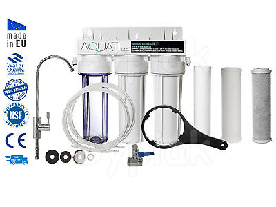 Luxury 3 Stage Under Sink Ceramic Water Purifier Dechlorinator Filter Kit New