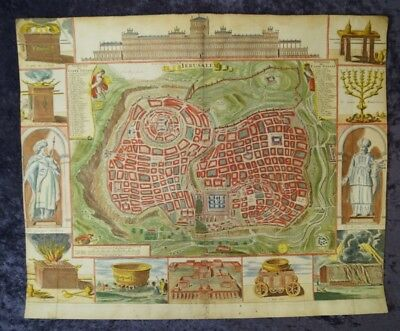 Jerusalem Plan Salomon Temple Israel Orig. Engr. Map Keur & Doornick 1686 #b975