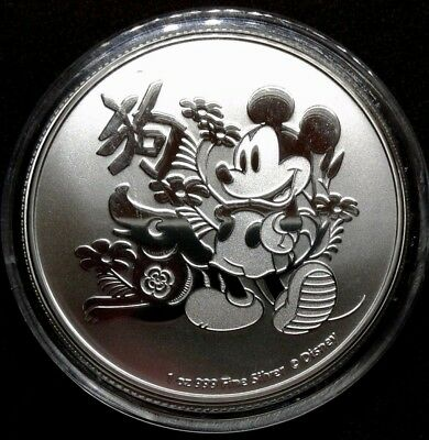 2018 Disney Mickey Mouse Niue Lunar Year of the Dog 1 oz Silver Coin BU Limited
