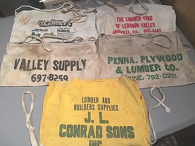 5 Vintage Canvas Advertising Aprons Lumber Pennsylvania A