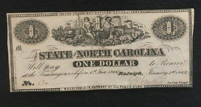 Civil War Confederate States Notes Currency $1 Raleigh NC- NR