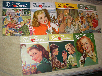 7 Issues Coca Cola Red Barrel American 1946-48 Magazine Paper Very Nice Cond.