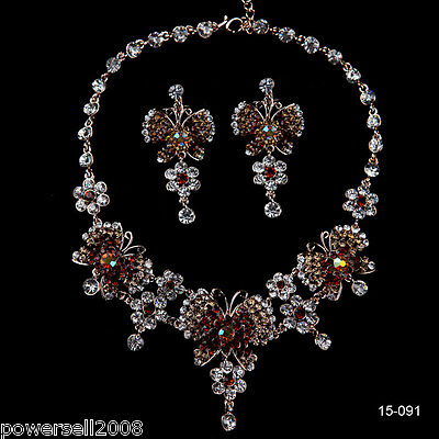 Custom Made Bridal Pageant Necklace Earrings Jewelry Set Wedding Accessories @L!