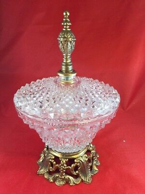 Vtg Crystal Cut Class Candy/Trinket Dish Brass Base Centerpiece w/Lid W/handle