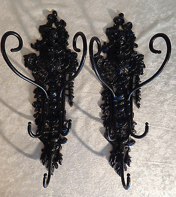 2 Cast Iron Antique Hat Coat Racks Putti Cherub 10 Hooks Pair Vintage Victorian