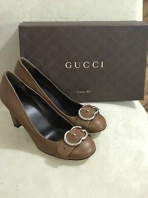 9acc18d5bb4 WOMENS GUCCI NIMUE Bow Leather   Snakeskin Block-Heel Pump sz 38.5 ...