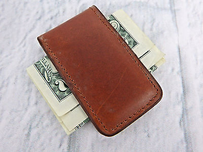 Real Leather Money Clip with strong magnet Made in USA