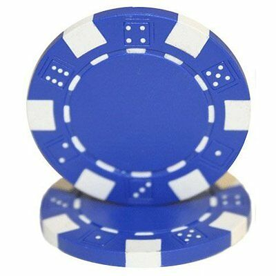 50 Clay Composite Dice Striped 11.5-Gram Poker Chips (BLUE)
