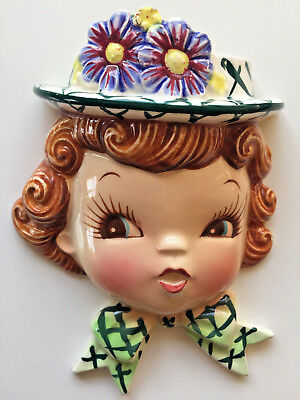 Gorgeous Napco Vintage Little Girl Head Vase Wall Planter