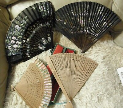 Beautiful Oriental Hand Fans Lot of Four silk and sandalwood