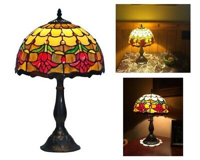 Tiffany Style Stained Glass Reading Light Desk Table Lamp Tulip Floral Design