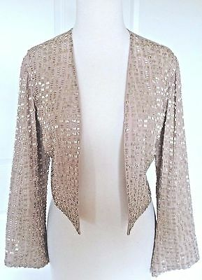 REISS LONDON Formal Champagne Silk Silver Bugle Beaded Bolero Jacket 14 NWT