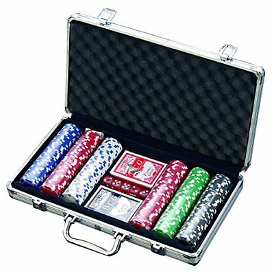 Poker Chips Set 300PCs Casino Style Chip 5 Dice 2 Cards Decks Aluminum Case Gift