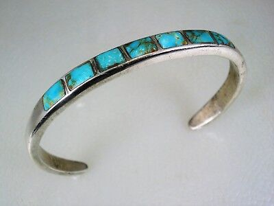 Old Zuni Sterling Silver & 7 Square Turquoise Inlay Row Bracelet