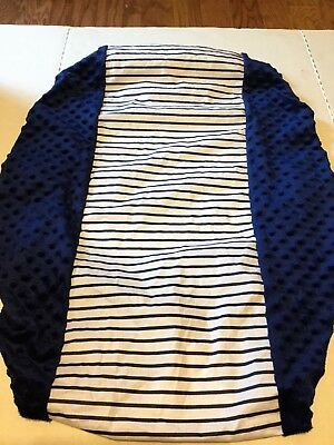 Navy And White Striped Car Seat Cover For Kids Middle Water Proof Side Minky Dot