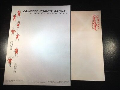 RARE 1940's Fawcett Comics Group Letterhead Stationary W/ Envelope. Comic Book