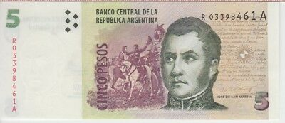 Argentina P-353 5 Pesos Year 2011 F Series Uncirculated Banknote