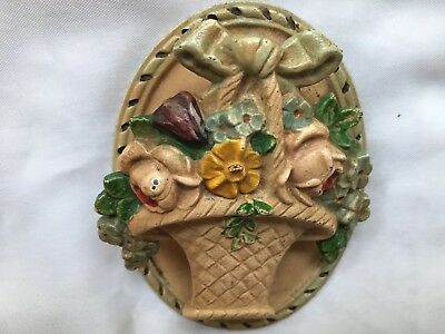 "Antique Hubley #13 Cast Iron Flower Basket Door Knocker - Approximately 4""x 3"""