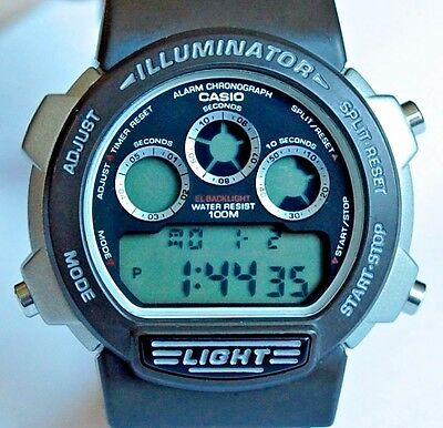 VINTAGE MENS NEW OLD STOCK NOS W 727H MODULE 1534 CASIO 1990's MINT STOP WATCH