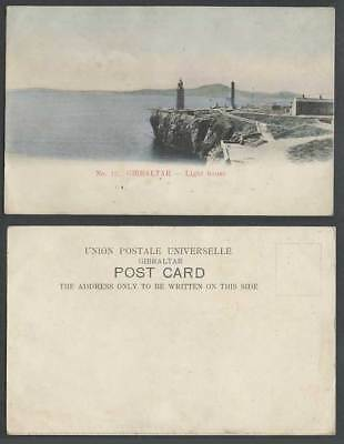 Gibraltar Old Hand Tinted UB Postcard Lighthouse Light House and Panorama No. 12