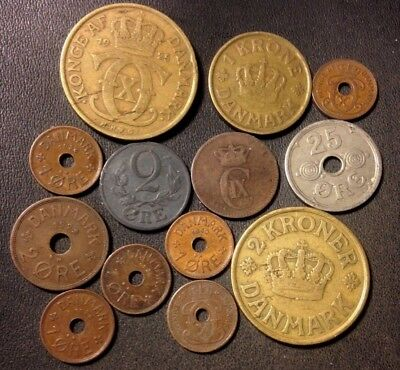Vintage Denmark Coin Lot - 1874-1937 - 13 Collectible Coins - Lot #N20