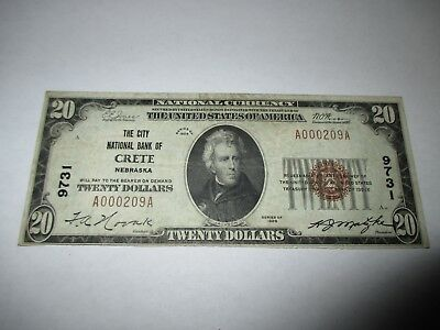 $20 1929 Crete Nebraska NE National Currency Bank Note Bill Ch. #9731 VF++!