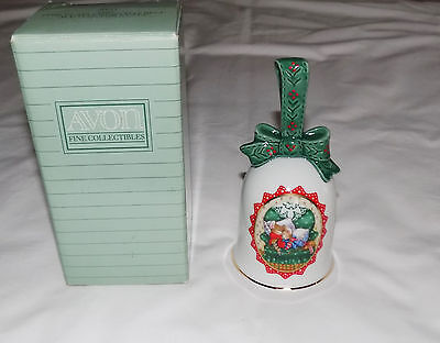 AVON FINE COLLECTIBLES 1990 PORCELAIN CHRISTMAS BELL WAITING FOR SANTA 22k GOLD
