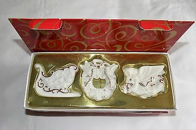 """NEW AVON SET OF 3 PORCELAIN WITH 24k GOLD ACCENTS CHRISTMAS ONAMENTS 2 1/4"""" TALL"""