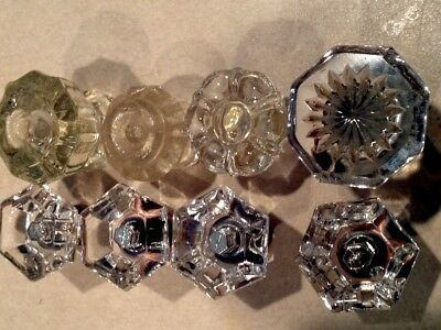 Clear Glass Faceted Knobs Drawer Pulls Mixed 4 & Matching 4 Hardware Included