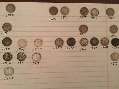 Set of 23  Coins Canadian Silver 5 cent Canada key Dates 1858-1920