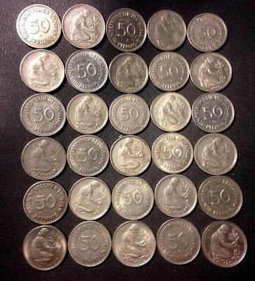 Vintage Weimar Germany Coin Lot - 50 PFENNIGS - 1949-PreEuro - 20 Coins -Lot N20