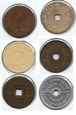 SIX TAX Tokens *** Mississippi x(3) *** WA *** AZ *** OK *** Tax Tokens