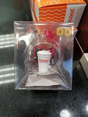 New 2017 Dunkin Donuts DD Snowflake Globe Coffee Cup Christmas Holiday Ornament
