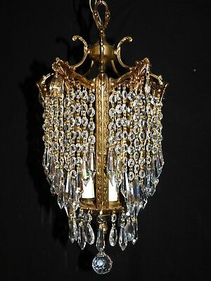 Antique brass crystal Empire chandelier 3 lights, 30% lead crystals, one of two