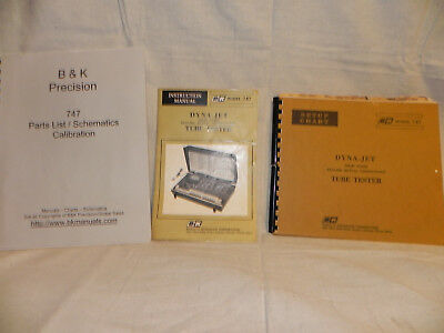 B&k 747 Dyna-Jet Solid State Tube Tester Manuals