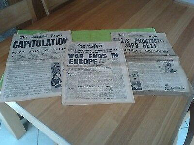 Vintage The Sun & The Argus Newspapers May 8 & 9 1945 War Ends In Europe